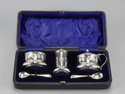 Cased Art Nouveau Silver Cruet Set