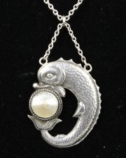 Charles Horner Silver MOP Fish Pendant 1910