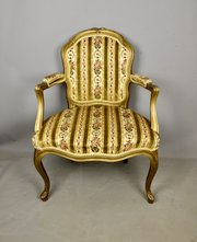 French Giltwood Open Armchair Bergere c1900