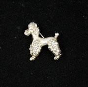 French Silver & Marcasite Poodle Brooch Pin 1940s
