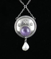 German Arts & Crafts Silver Amethyst Pearl Pendant