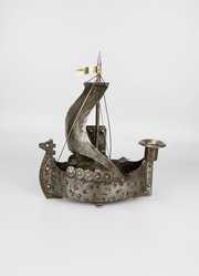 Goberg Arts & Crafts Viking Ship Candlestick c1910