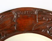 Good Arts and Crafts Circular Carved Oak Motto Mirror
