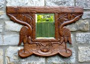 Great Art Nouveau Carved Oak Mirror Cranes