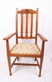 Great Oak Arts and Crafts Open Arm Chair
