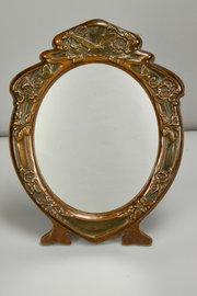 J Aitkin Art Nouveau Copper Oak Table Mirror c1910