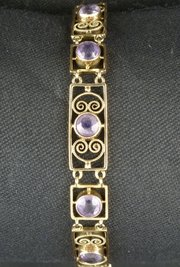 Murrle Bennett Arts Crafts Gold Amethyst Bracelet