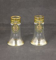 Pair Art Nouveau Theresienthal Glass Vases c1910