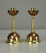 Pair Arts & Crafts Brass Copper Candlesticks