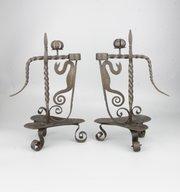 Pair Arts & Crafts Steel Serpent Candlesticks 1910