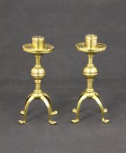 Pair Gothic Arts & Crafts Brass Candlesticks c1880