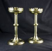 Pair Victorian Gothic Revival Candlesticks c1880