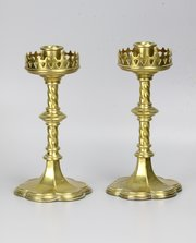 Pair Victorian Gothic Revival Pugin Candlesticks