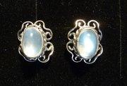 Pair of Arts & Crafts Silver & Moonstone Earrings