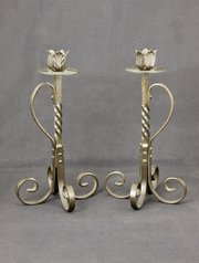 Pair of Arts and Crafts Steel Candlesticks c1910