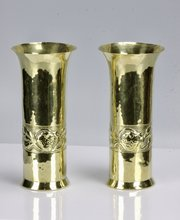 Pair of Keswick Brass Spill Vases Strawberries