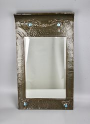 Period Arts & Crafts Copper Ruskin Mirror