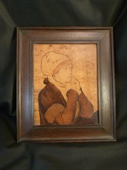 Period Arts & Crafts Marquetry Portrait of a Lady