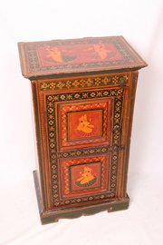 Period Indian Painted Bedside Cabinet