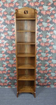 Very Tall Arts & Crafts Narrow Oak Bookcase c1910