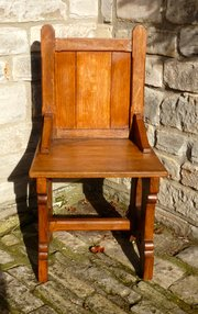 Victorian Gothic Oak Hall Chair circa 1880