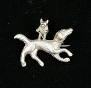 Victorian Silver Mr Fox Riding Hound Brooch Pin