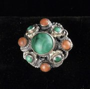 Zoltan White Arts & Crafts Silver Turquoise Ring
