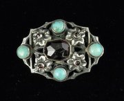 Zoltan White Arts & Crafts Turquoise Garnet Brooch