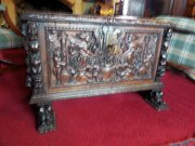 17thc Spanish carved coffer Magnificent c1680