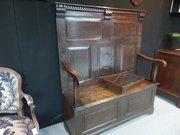 18thc small oak high boxseat settle 124cms