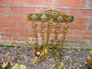 Antique Brass fire set on stand c1850  4 pieces