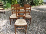 Antique Set of 5 oak French chairs c1900