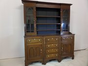 Antique Welsh oak dresser with Gothic glazed top
