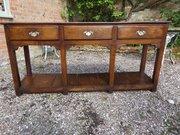 Antique Welsh oak potboard dresser base c1800