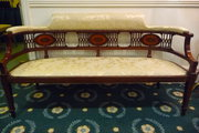 Antique mahogany inlaid settee couch c1900