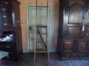 Antique oak  pine library ladders C1910 O  H198cms
