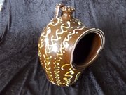 Antique slipware decorated salt pig