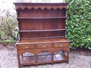 Antique small oak dresser and rack c1800