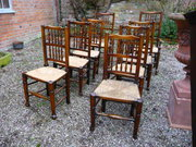 Close set of 8 19thc Ash+Elm spindleback chairs