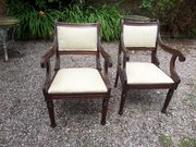 Pr of Thomas Hope style mahogany armchairs