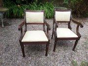 Pr of Thomas Hope style mahogany armchairs