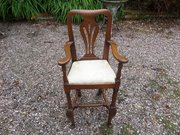 Rare 18thc oak child,s high chair c1760 95cm h