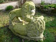 MASSIVE MARBLE LION STATUE c1900