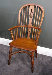 Early Victorian Elm and Yew Windsor Chair