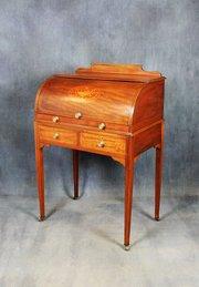 Edwardian Mahogany Cylinder Desk / Bureau