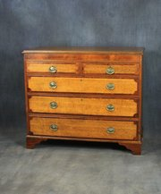 George III oak and mahogany chest of drawers
