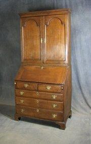 George II Oak Bureau Bookcase