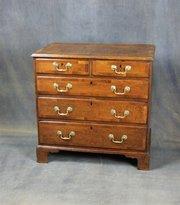 George II Oak and Walnut Chest of Drawers
