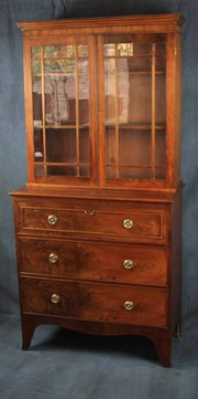 Regency Mahogany Bookcase on Chest