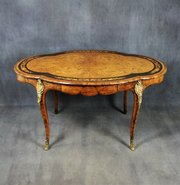 Victorian Burr Walnut and Marquetry Bureau Plat